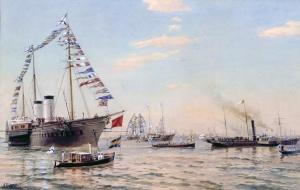 Беггров А.К. (1841-1914). Встреча германского императора Вильгельма II на Большом Кронштадском рейде 7 июля 1888 года. Центральный военно-морской музей, Санкт-Петербург.