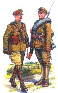 Офицер и солдат армии Колчака. В форме английского образца (полученной от союзников), но с русскими погонами