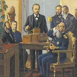 Н.А. Сысоев. Изобретатель радио А.С. Попов. Демонстрация первого радиоприемника 1895 год