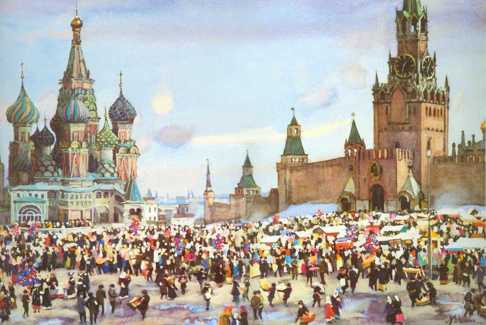 К. Юон. 1916 Вербный базар на Красной площади. 1916. Б. на карт., акв., бел.