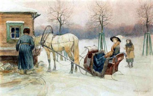 У водопоя или Дама в санях, 1913. Худ. Иван Владимиров