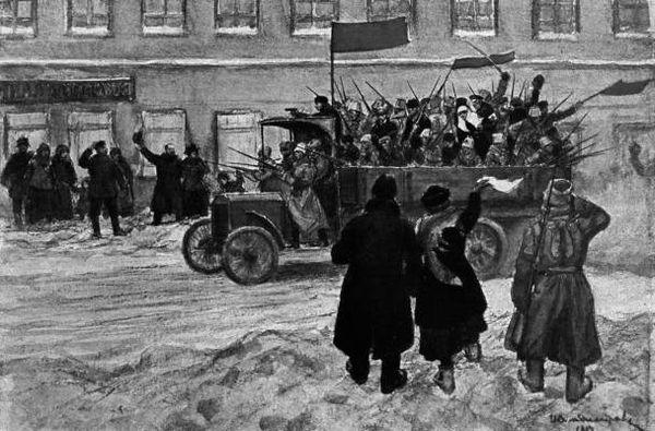 Питерцы приветствуют революционных солдат. Иллюстр. из книги ВЛАДИСЛАВ ГОНЧАРОВ - 1917. РАЗЛОЖЕНИЕ АРМИИ