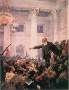 В.И. Ленин провозглашает советскую власть. С картины художника В. Серова.