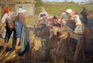 «Мяльщицы льна» – художник Ф.В. Сычков. 1905 г.