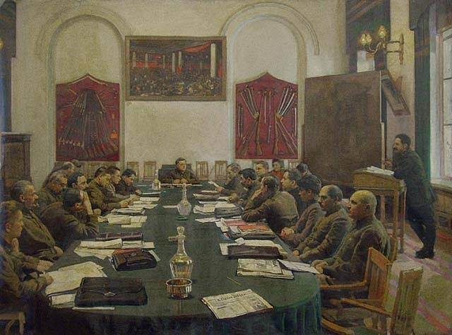 Революционное собрание. Исаак Израилевич Бродский