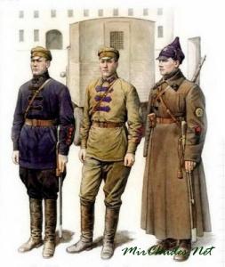 Военнослужащий штаба, старшина конвоя, красноармеец кавалерии. 1922 г. По рисунку художника В. Куликова, 1994 г.