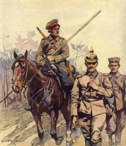 """Николай Семёнович Самокиш (1860-1944), """"Казак взял в плен немецкого офицера""""."""