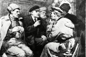 Васильев П. В.И.Ленин в вагоне поезда по дороге в Петроград