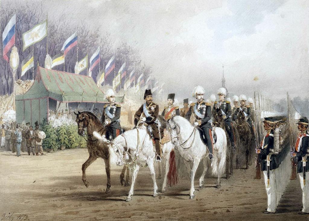 Михай Зичи. «Александр II и Насир-ад-Дин Шах во время парада на Царицыном лугу».