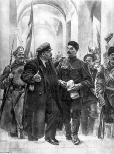 Кибрик Е.А. Ленин и Сталин в Смольном в октябре 1917 г.