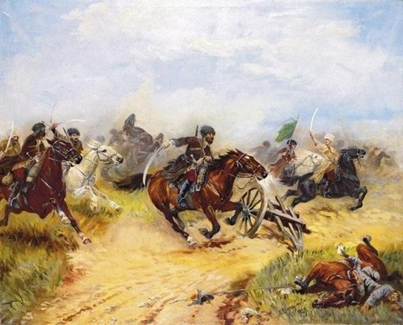 Худ. А.И.Шелоумов. Атака Кавказской туземной конной дивизии против немецких драгун.