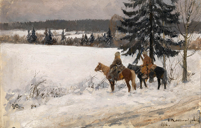 Зимняя сцена с двумя верховыми казаками. И.А. Владимиров
