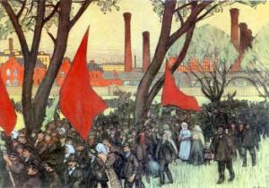 Борис Кустодиев. Первомайская демонстрация у Путиловского завода. 1906