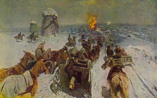 Вступление частей Первой Конной Армии в село Шаблиевку. Автор: Греков М.