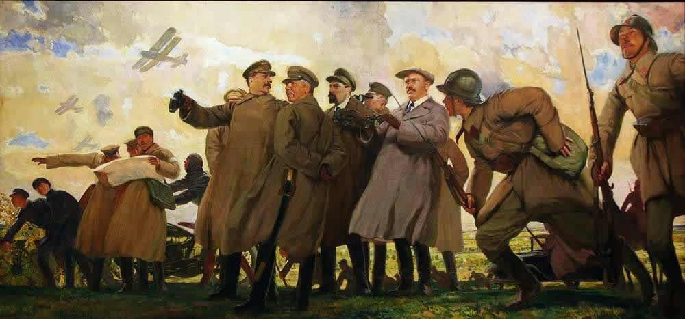 Кардовский Д.Н. И.В.Сталин и члены Политбюро на маневрах. 1933. Государственный музейно-выставочный центр «РОСИЗО»