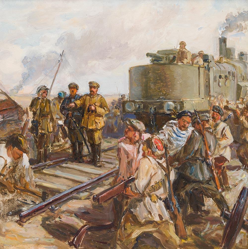 И. В. Сталин и К.Е. Ворошилов на бронепоезде. Неизвестный художник
