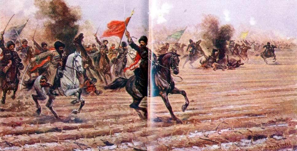 Атака 2-го Дагестанского полка у д. Ландунгоу на японскую пехоту и артиллерию под командой Хана Нахичеванского. 14 января 1905 г.». Худ. В. В. Мазуровский