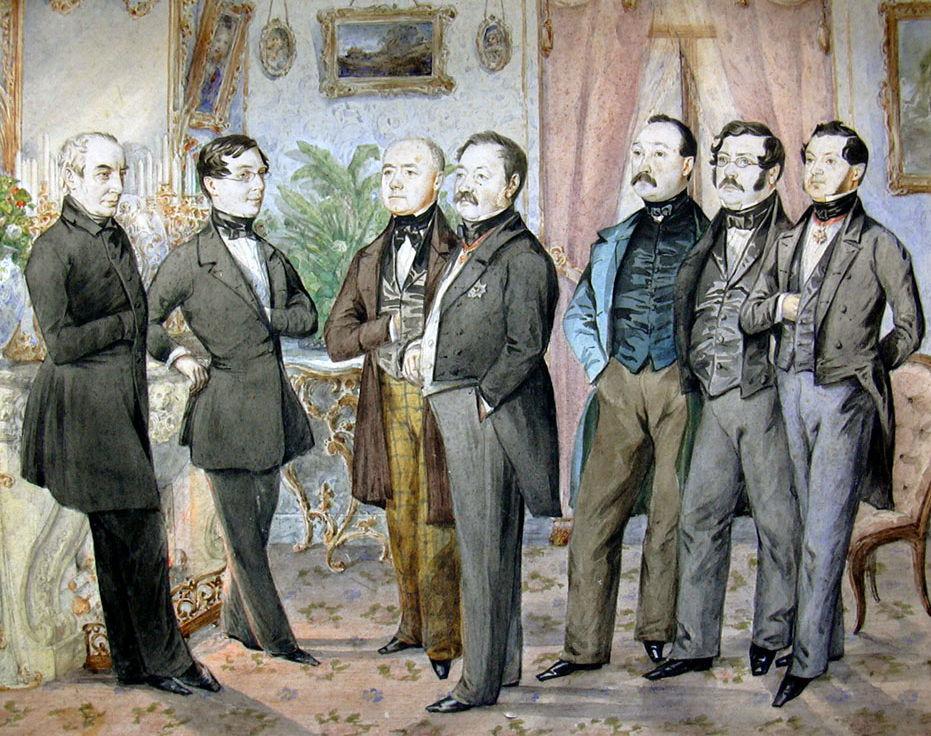 Иллюстрация: «Калужские чиновники». Рисунок И. Алексеева, 1840е года