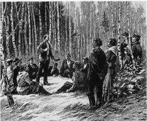 Ф. Э. Дзержинский - Выступление перед товарищами на маевке. (серия рисунков художника В. Коновалова, 1977 год)