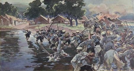Русско-японская война. Переход через реку Тай-Дзы-Хе. 1904. Худ. Н. Самокиш
