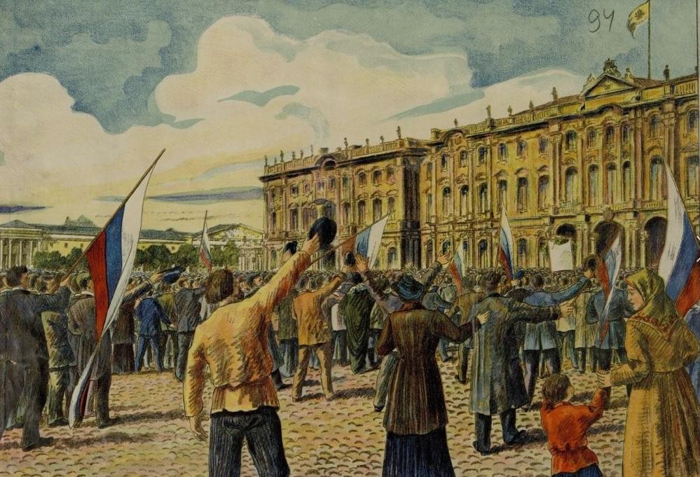 ВОЙНА ОБЪЯВЛЕНА 1 АВГУСТА 1914 ГОД. Площадь перед Зимним дворцом в день обнародования Манифеста. Плакат времён Первой мировой войны.