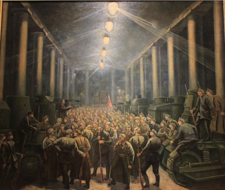 """М.М.Берингов - """"Выступление В.И.Ленина в Михайловском манеже в 1917 году"""", 1923"""