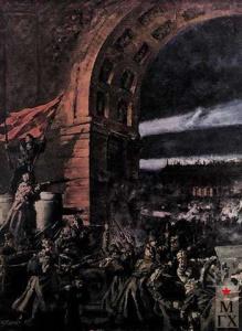 Штурм Зимнего (фрагмент). Павел Петрович Соколов-Скаля (1899–1961)