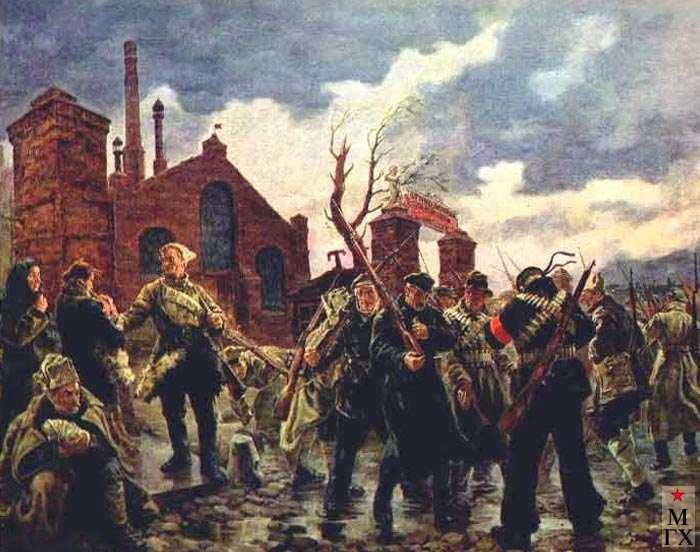 Рабочий отряд уходит на фронт в 1919 году. 1937