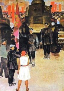 """""""Танки"""", Екатерина Зернова, 1931 год. Запечатлен здесь конечно же тот самый первый парад 1927 года, когда по Красной Площади впервые прошли танки. Первые Советские МС-1 (Т-18)."""
