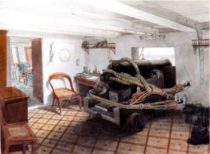 Беггров А.К. (1841-1814).Орудийный каземат фрегата «Ослябя». Вторая половина ХIХ века. Центральный военно-морской музей, Санкт-Петербург.