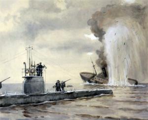 """Потопление подводной лодкой """"Волк"""" германского транспорта 4 мая 1916 года"""