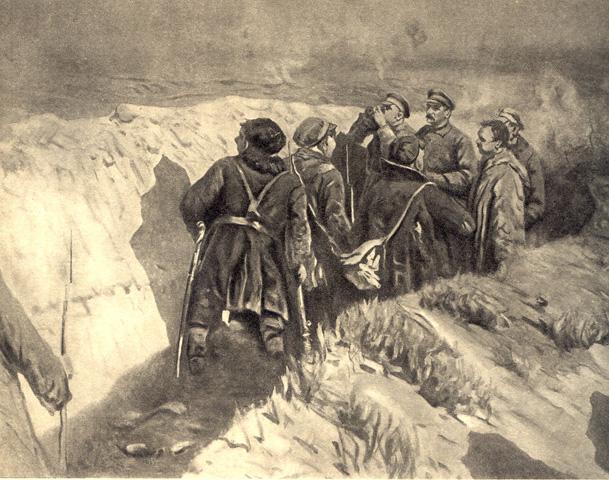 Сталин и Ворошилов в окопах Царицына. М. Б.ГРЕКОВ