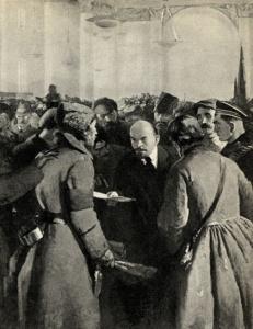 С. В. Герасимов. В. И. Ленин на II съезде Советов среди крестьян-делегатов. 1935 - 1936