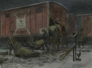 Ночное разграбление вагона с помощью от Красного креста (1922). Иван Владимиров