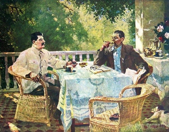 Сталин и А.М. Горький в Горках. Худ. Александр Михайлович Герасимов