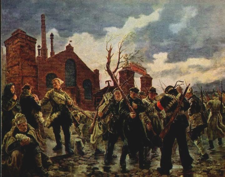 П. Соколов-Скаля. Рабочий отряд уходит на фронт в 1919 году. 1937
