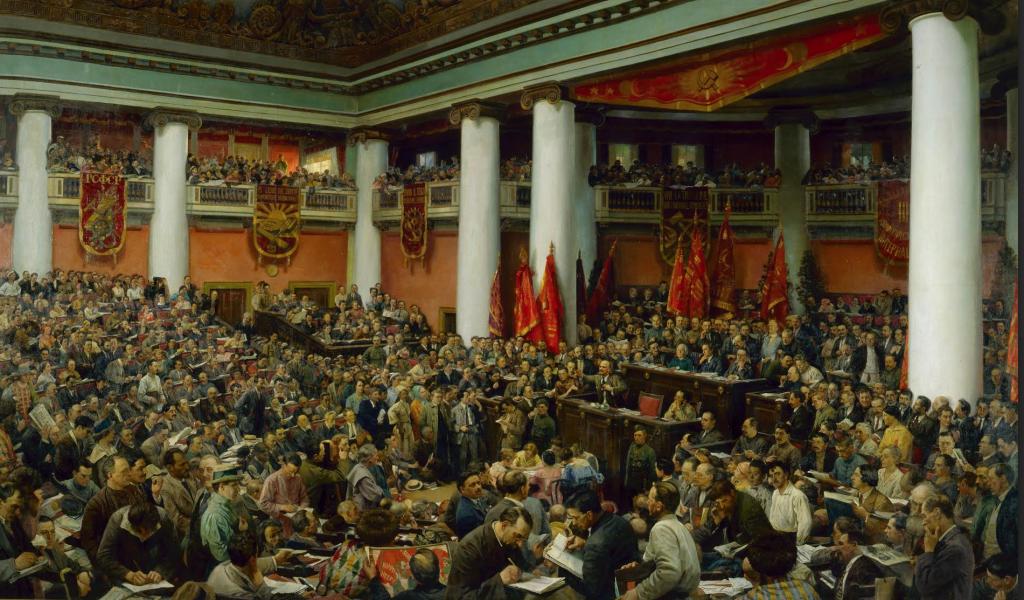 И.И.Бродский — «II Конгресс Коминтерна (Торжественное открытие II Конгресса Коминтерна во Дворце Урицкого), 19 июля — 7 августа 1920 в Петрограде.. На полотне изображено около 600 реальных людей- участников Конгресса