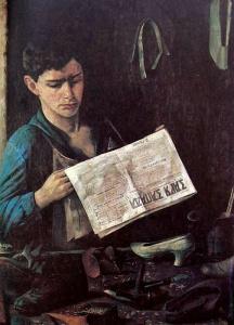 """Иегуда Пэн. """"Еврей-сапожник"""". 1925 г. Второе название этой картины """"Еврей-комсомолец, читающий газету""""."""