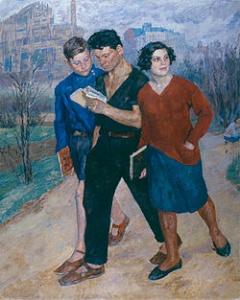 Б.Иогансон, «Рабфак идет», 1928, Киевский музей русского искусства