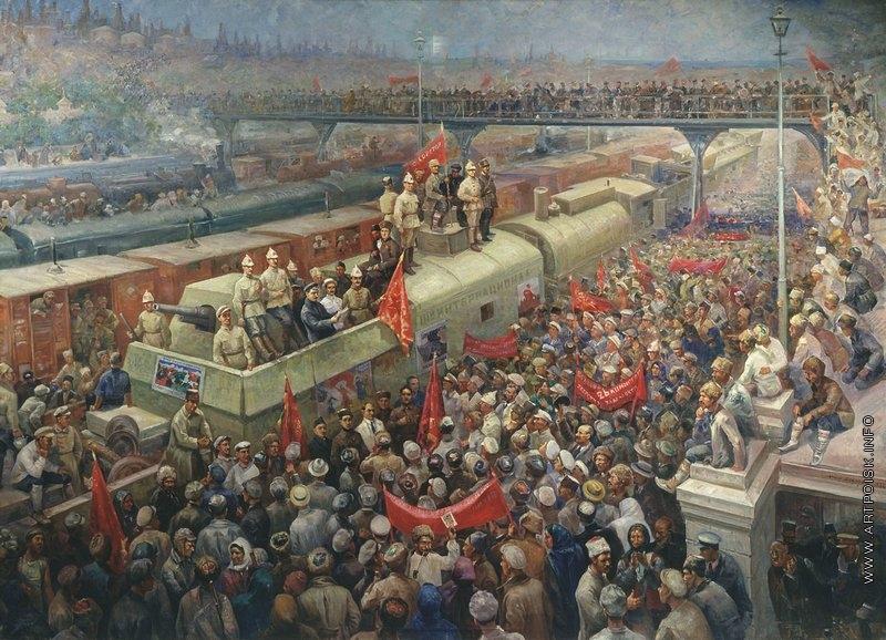 Модоров Ф.А. 1933. Встреча бронепоезда «III Интернационал» в Баку в 1920 году. Центральный музей Вооружённых сил