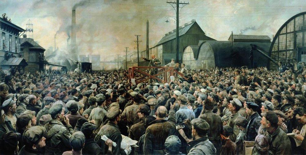 «Выступление В.И.Ленина на митинге рабочих Путиловского завода в мае 1917 года». Исаак Израилевич Бродский