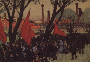 Первомайская демонстрация у Путиловского завода. Б.М. Кустодиев (1878-1927)