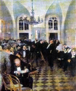 Д. А. Щербиновский. В комнате присяжных поверенных во время перерыва заседания. 1896.