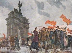 Дейнека Александр Александрович (1899-1969) «Октябрьские лозунги мира. У Нарвской заставы 1917 год» 1959