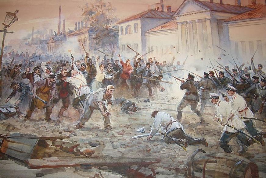 Обуховская оборона. Неизв. худ. 7 мая 1901, столкновение рабочих Обуховского завода в Санкт-Петербурге с полицией.