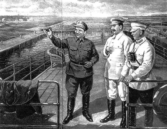 """Д. Налбандян. """"Сталин, Киров и Ворошилов на Беломорканале"""". На картине был изображен Ягода, но после его ареста художник изменил композицию картины."""