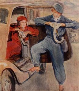 Мы готовимся к обороне (Горьковский автозавод). Рисунок художника Сарры Шор.