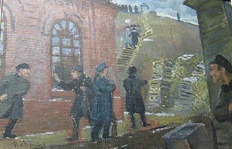 Демидов М.А. Столкновение вооруженных дружин с полицией у здания водокачки. Декабрь 1905 г. (Г.Вятка, 1920-е гг.)