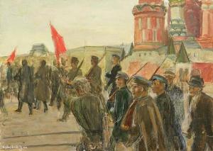 Лекомцев Константин Михайлович (Россия, 1897-1970) «Демонстрация на Красной площади» 1930-е
