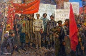 Неизвестный художник «Великий Октябрь. Демонстрация» 1970